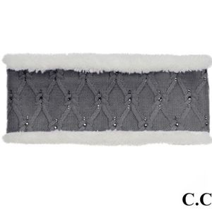 Gray Rhinestone C.C. Headwrap